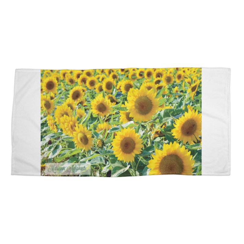 Landscape Sunflower Field Accessories Beach Towel by MariecorAgravante's Artist Shop