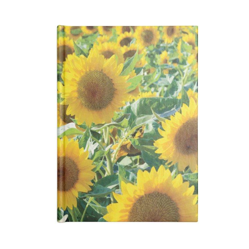 Landscape Sunflower Field Accessories Lined Journal Notebook by MariecorAgravante's Artist Shop
