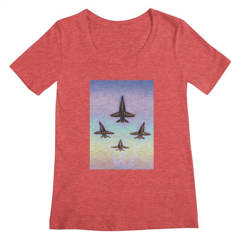 Blue Angels Squadron Women's Scoopneck by MariecorAgravante's Artist Shop