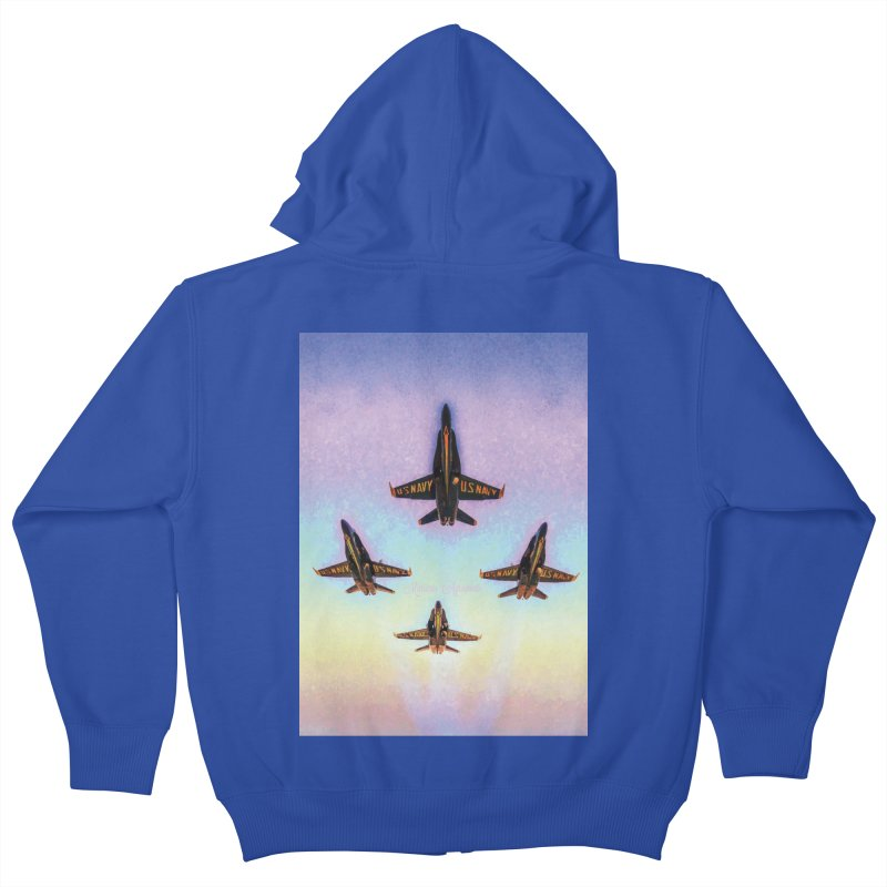 Blue Angels Squadron Kids Zip-Up Hoody by MariecorAgravante's Artist Shop