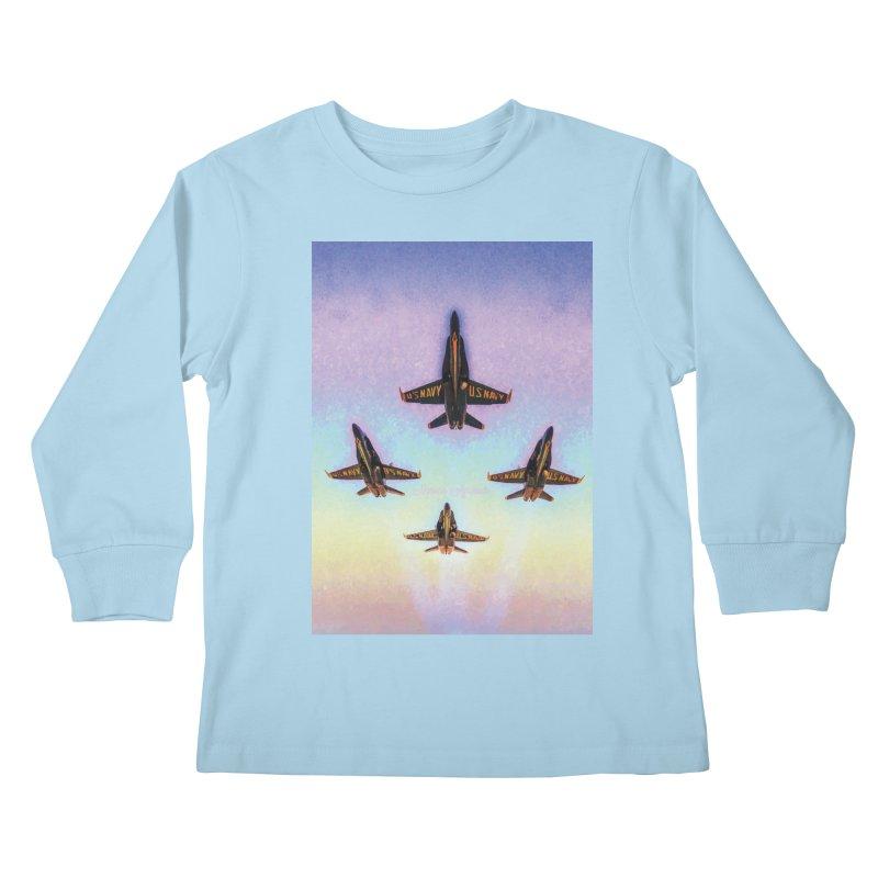 Blue Angels Squadron Kids Longsleeve T-Shirt by MariecorAgravante's Artist Shop