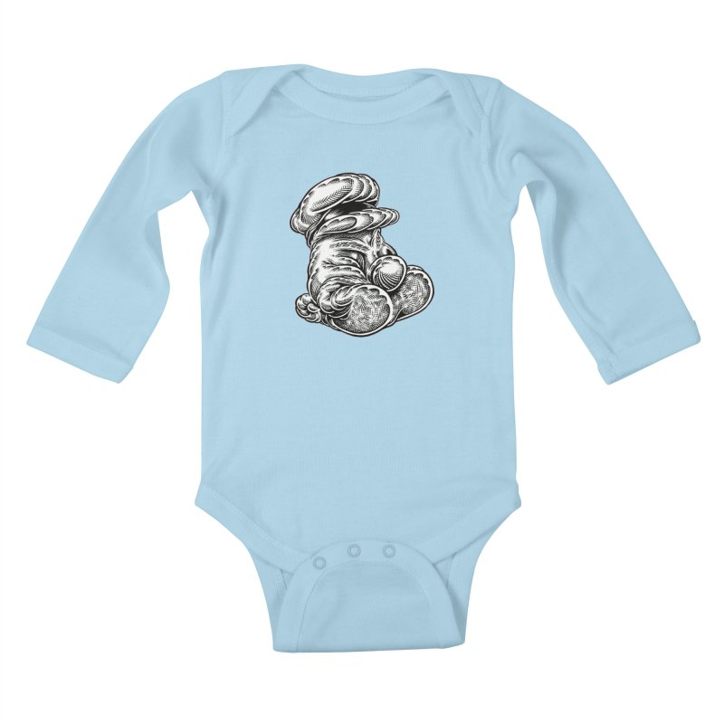 I yam. Kids Baby Longsleeve Bodysuit by Mark Dean Veca