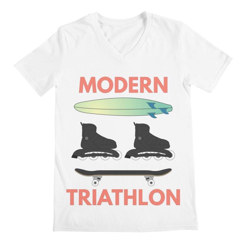 Modern Triathlon Men's V-Neck by MaroDek's Artist Shop