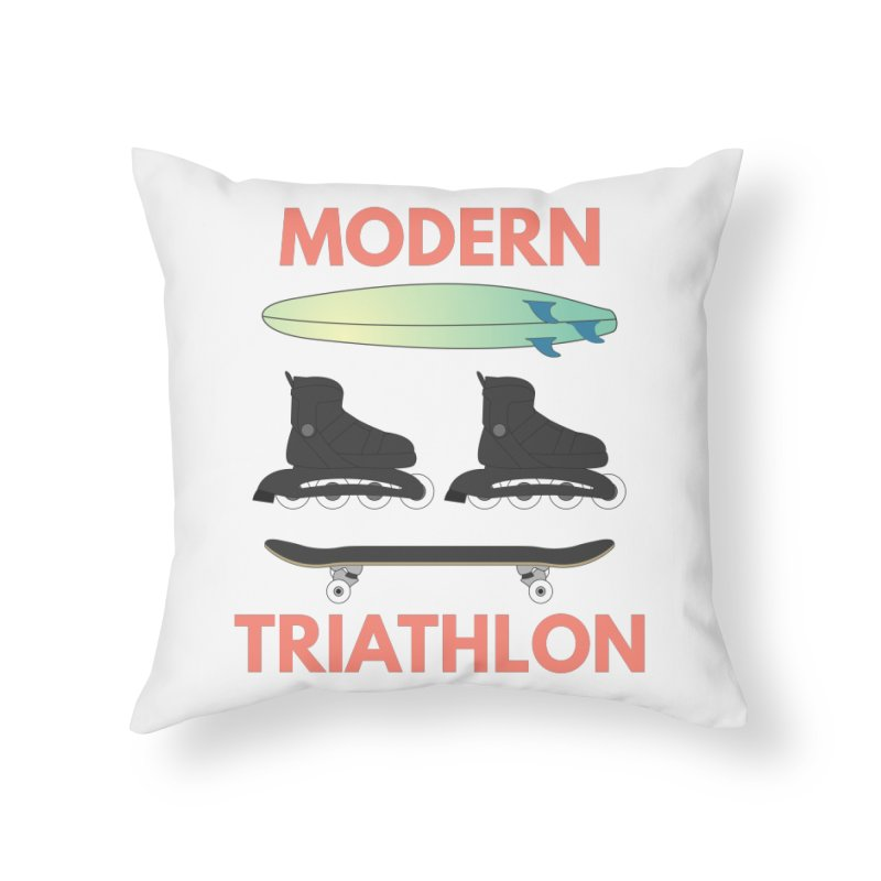 Modern Triathlon Home Throw Pillow by MaroDek's Artist Shop