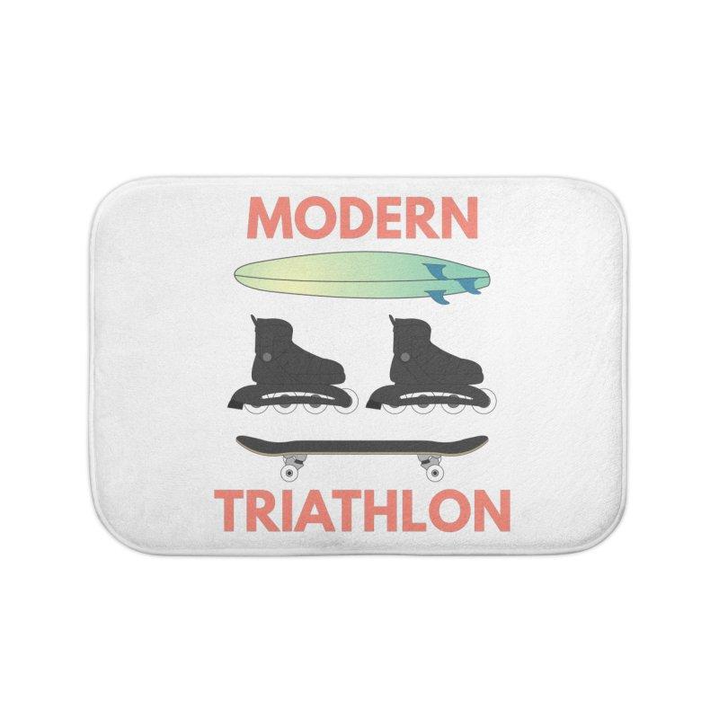 Modern Triathlon Home Bath Mat by MaroDek's Artist Shop