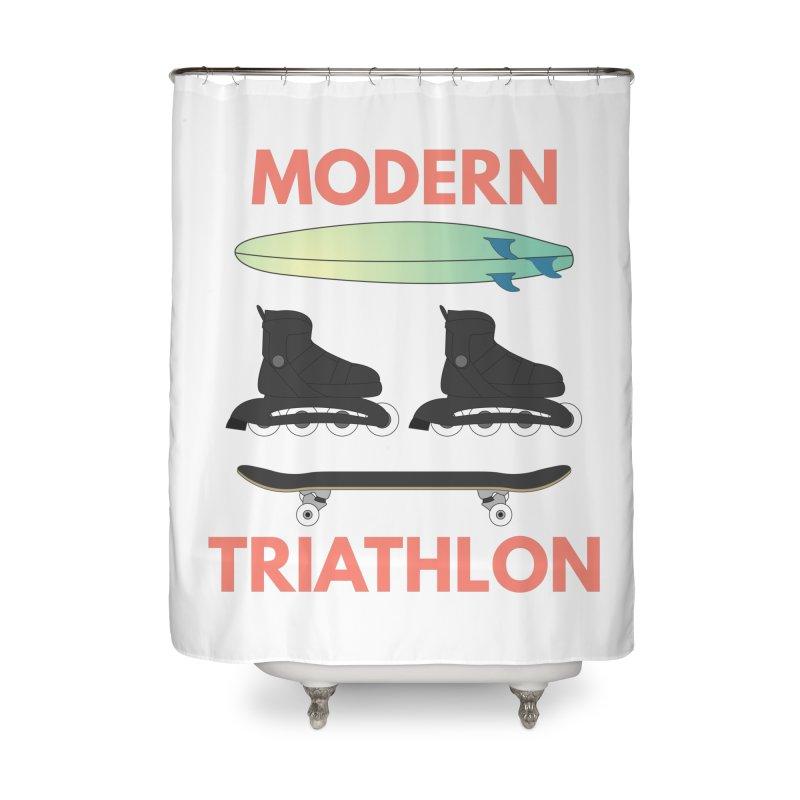 Modern Triathlon Home Shower Curtain by MaroDek's Artist Shop