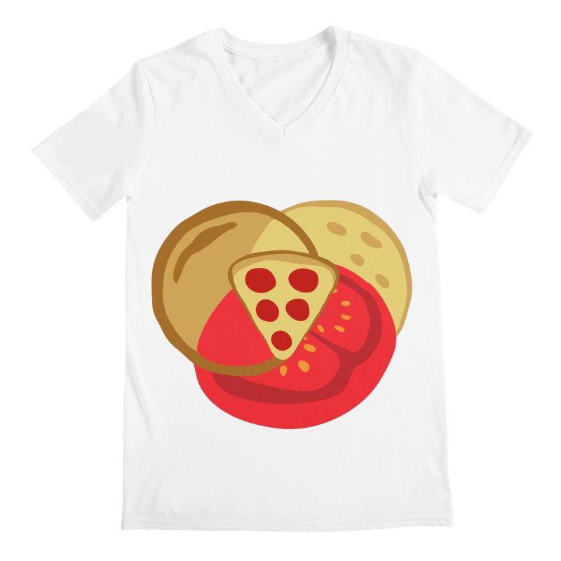 Pizza Venn Diagram Men's V-Neck by MaroDek's Artist Shop