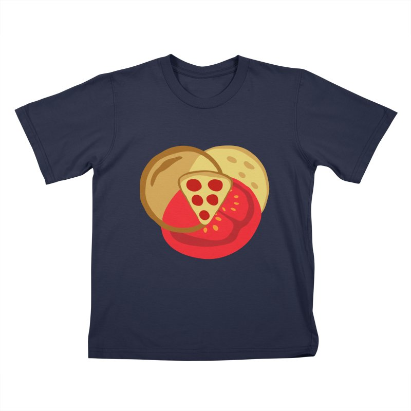 Pizza Venn Diagram Kids T-Shirt by MaroDek's Artist Shop