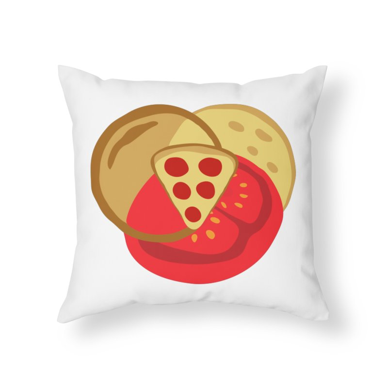 Pizza Venn Diagram Home Throw Pillow by MaroDek's Artist Shop