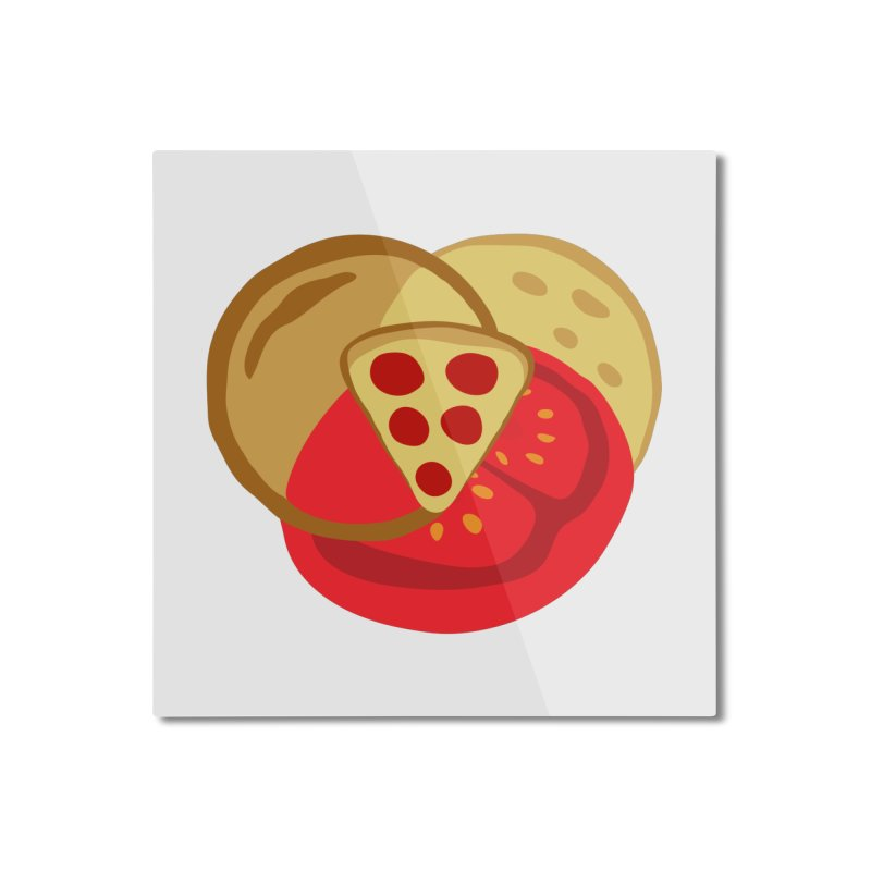 Pizza Venn Diagram Home Mounted Aluminum Print by MaroDek's Artist Shop