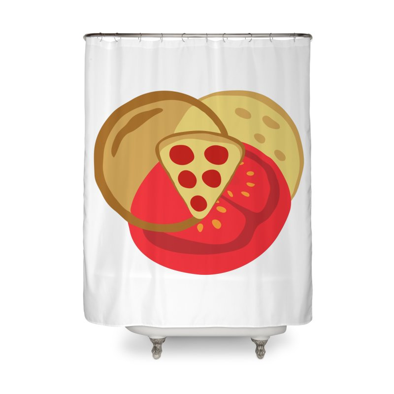 Pizza Venn Diagram Home Shower Curtain by MaroDek's Artist Shop