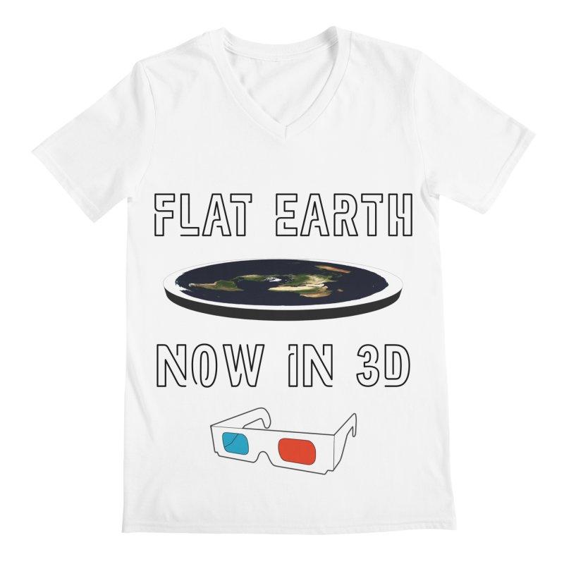 Flat Earth Now In 3D Men's V-Neck by MaroDek's Artist Shop