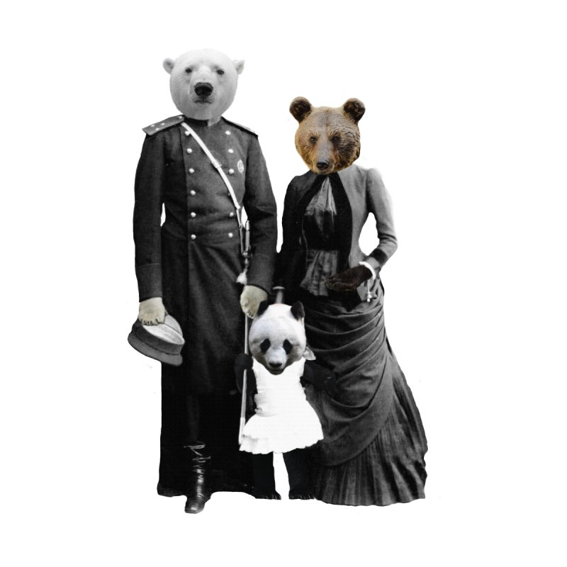 Bear Family Portrait Accessories Bag by MaroDek's Artist Shop
