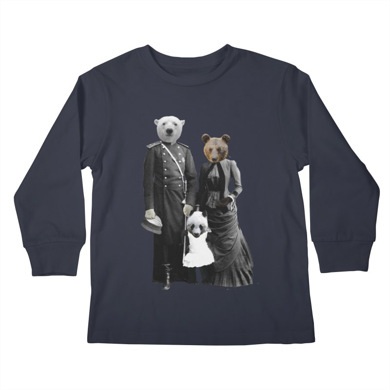 Bear Family Portrait Kids Longsleeve T-Shirt by MaroDek's Artist Shop