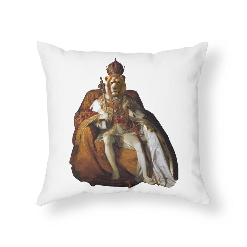King Lion Home Throw Pillow by MaroDek's Artist Shop