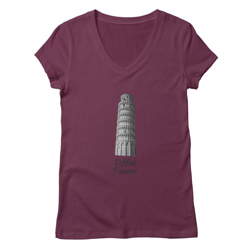 Eiffel Tower of Pisa Women's V-Neck by MaroDek's Artist Shop
