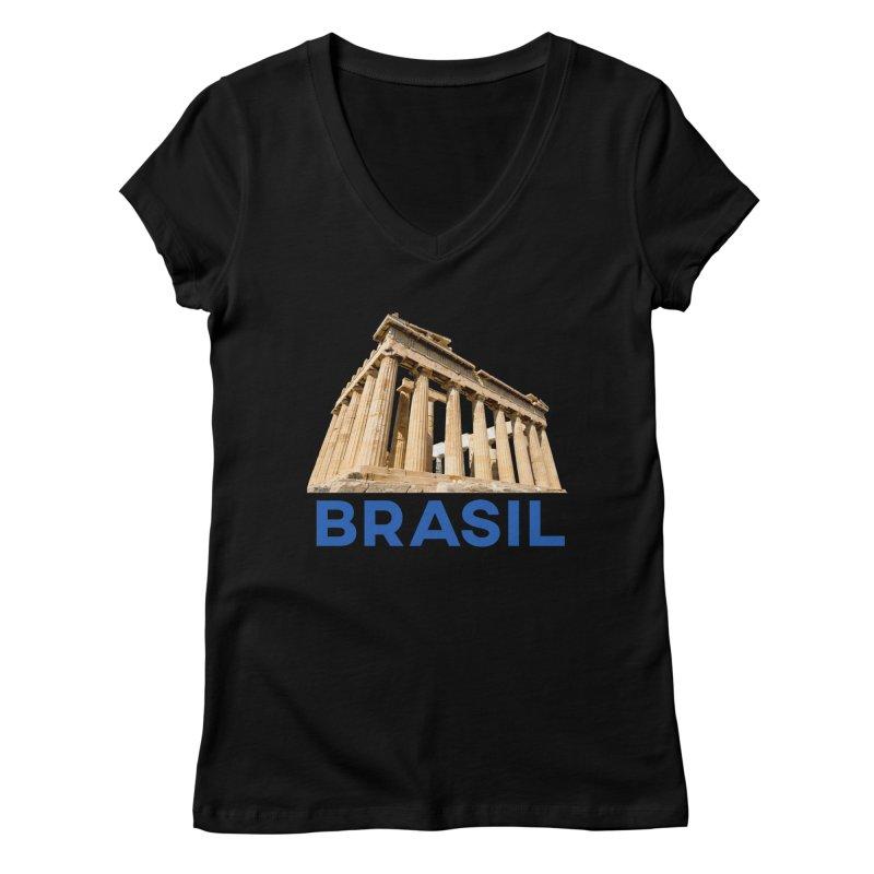 Brasil Parthenon Women's V-Neck by MaroDek's Artist Shop