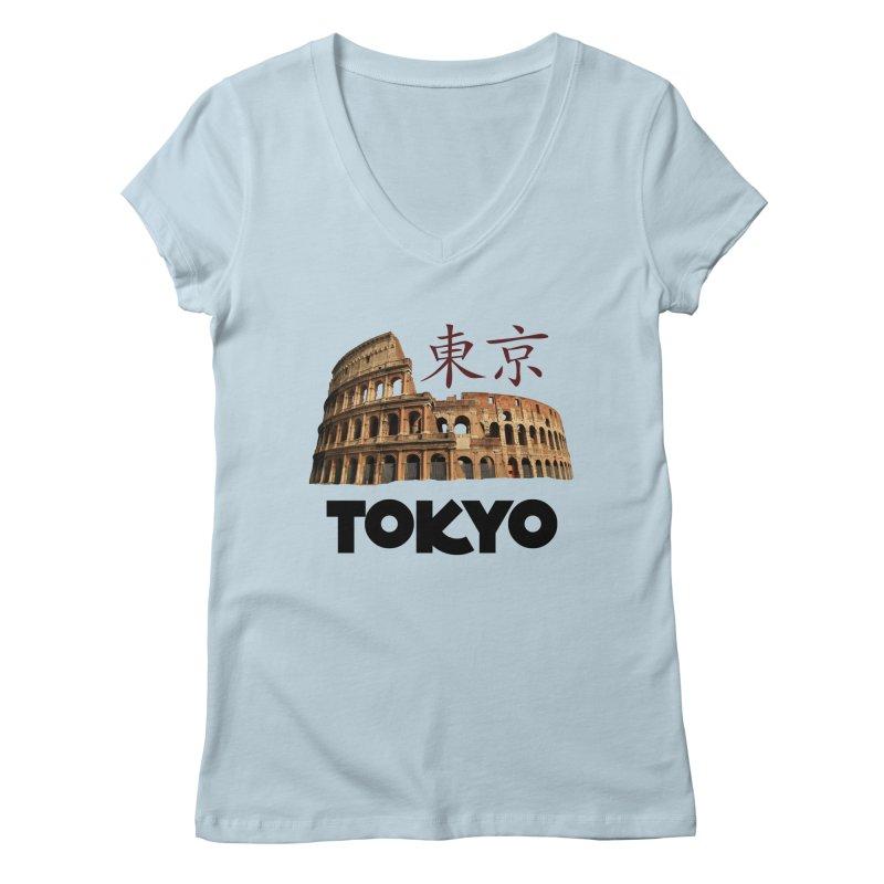 Tokyo Coliseum Women's V-Neck by MaroDek's Artist Shop