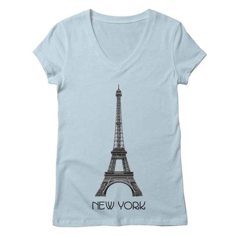 New York Eiffel Tower Women's V-Neck by MaroDek's Artist Shop