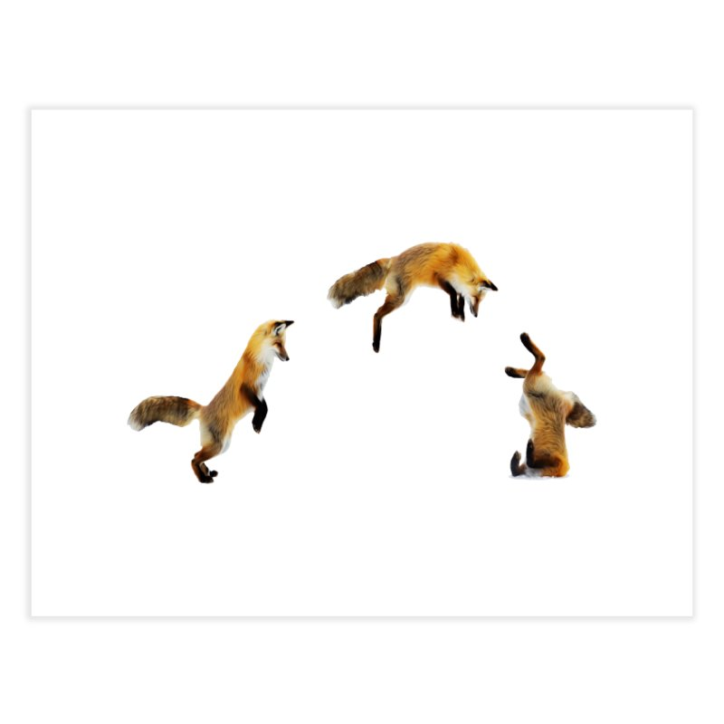 Fox Jumping Snow Home Fine Art Print by MaroDek's Artist Shop