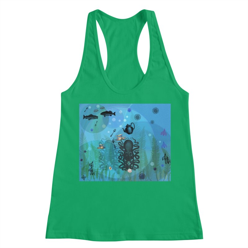 Under The Sea In Time For Tea Women's Racerback Tank by Maryheartworks's Artist Shop