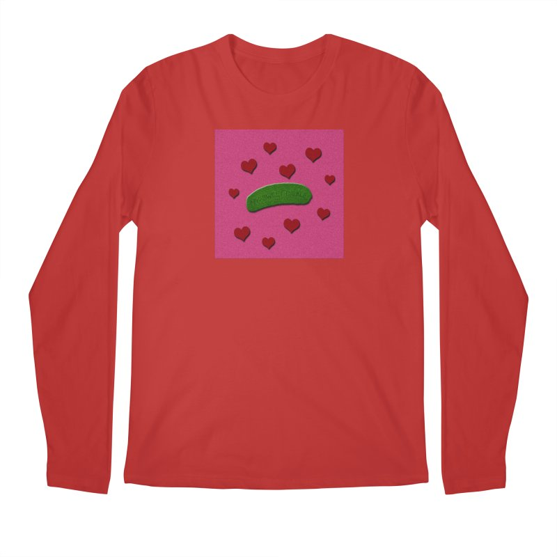 My Sweet Pickle In Pink, Red And Green Shimmer Men's Regular Longsleeve T-Shirt by Maryheartworks's Artist Shop