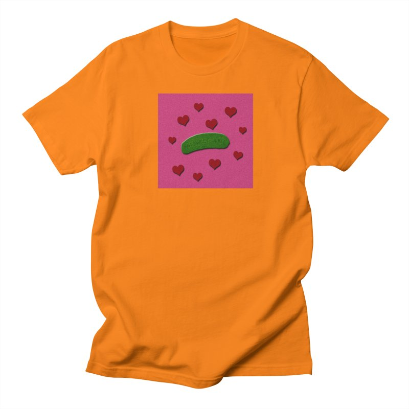My Sweet Pickle In Pink, Red And Green Shimmer Men's Regular T-Shirt by Maryheartworks's Artist Shop