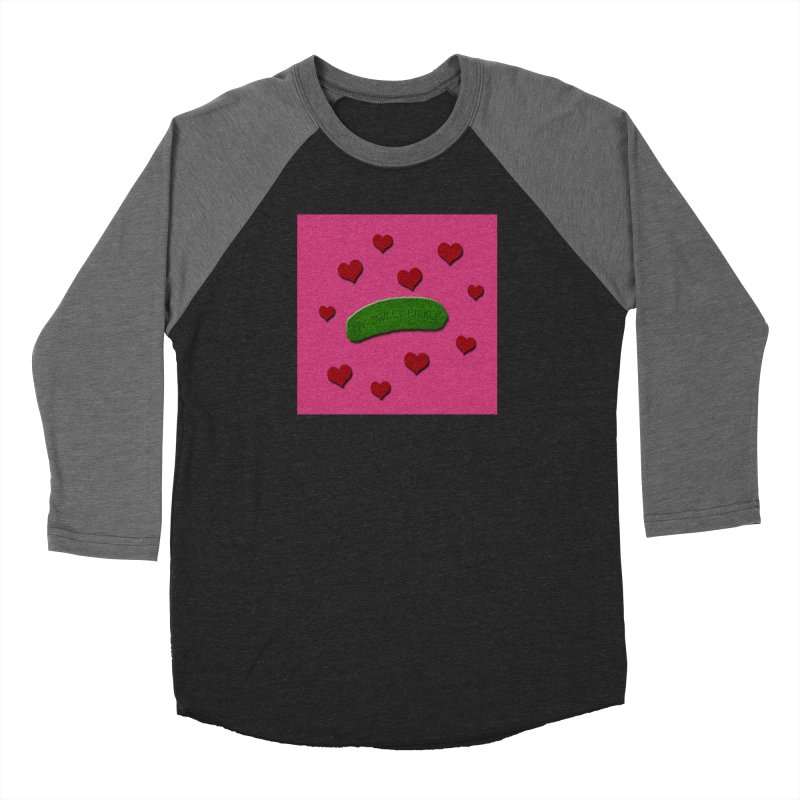 My Sweet Pickle In Pink, Red And Green Shimmer Women's Baseball Triblend Longsleeve T-Shirt by Maryheartworks's Artist Shop