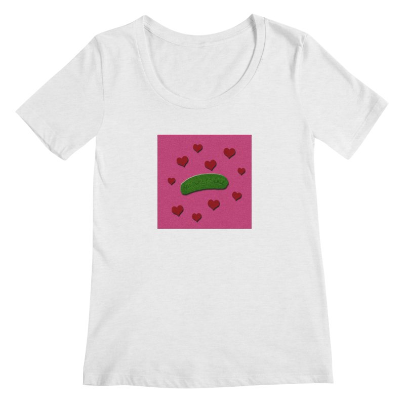 My Sweet Pickle In Pink, Red And Green Shimmer Women's Regular Scoop Neck by Maryheartworks's Artist Shop