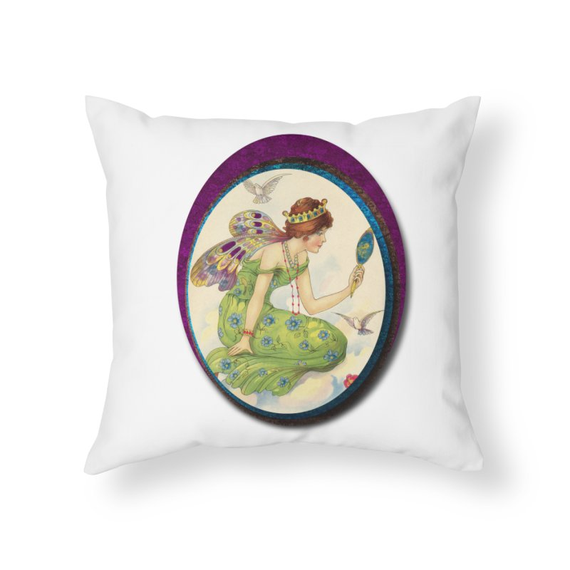 Fairy With Her Looking Glass Home Throw Pillow by Maryheartworks's Artist Shop