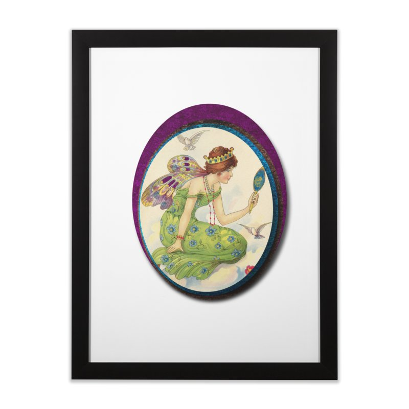 Fairy With Her Looking Glass Home Framed Fine Art Print by Maryheartworks's Artist Shop
