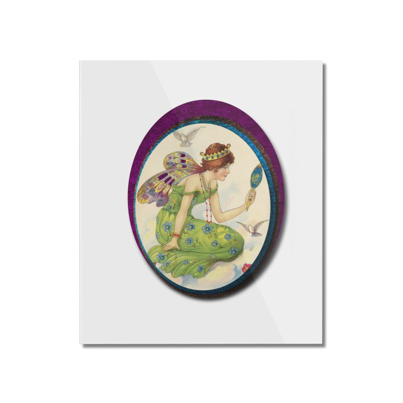 Fairy With Her Looking Glass Home Mounted Acrylic Print by Maryheartworks's Artist Shop