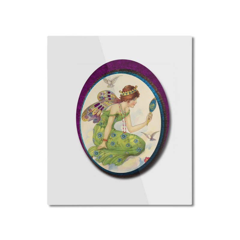Fairy With Her Looking Glass Home Mounted Aluminum Print by Maryheartworks's Artist Shop