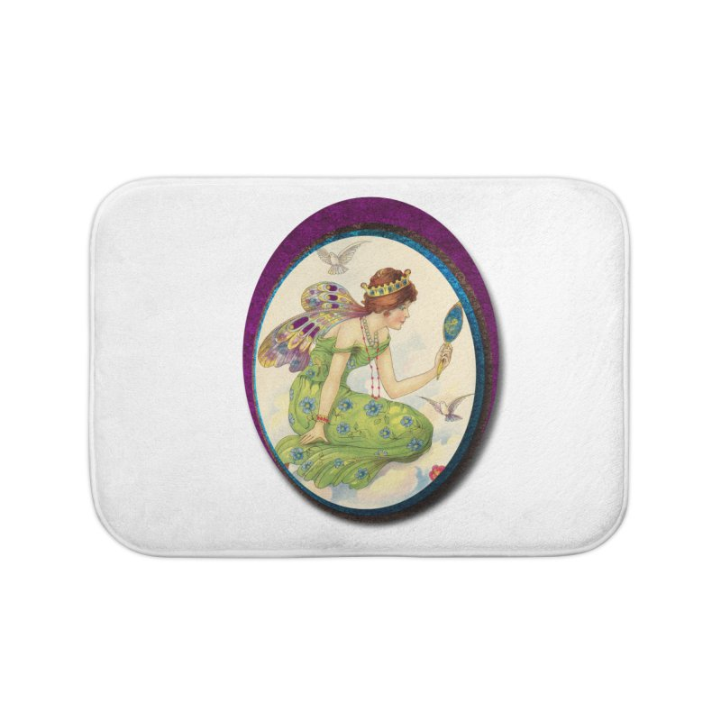 Fairy With Her Looking Glass Home Bath Mat by Maryheartworks's Artist Shop