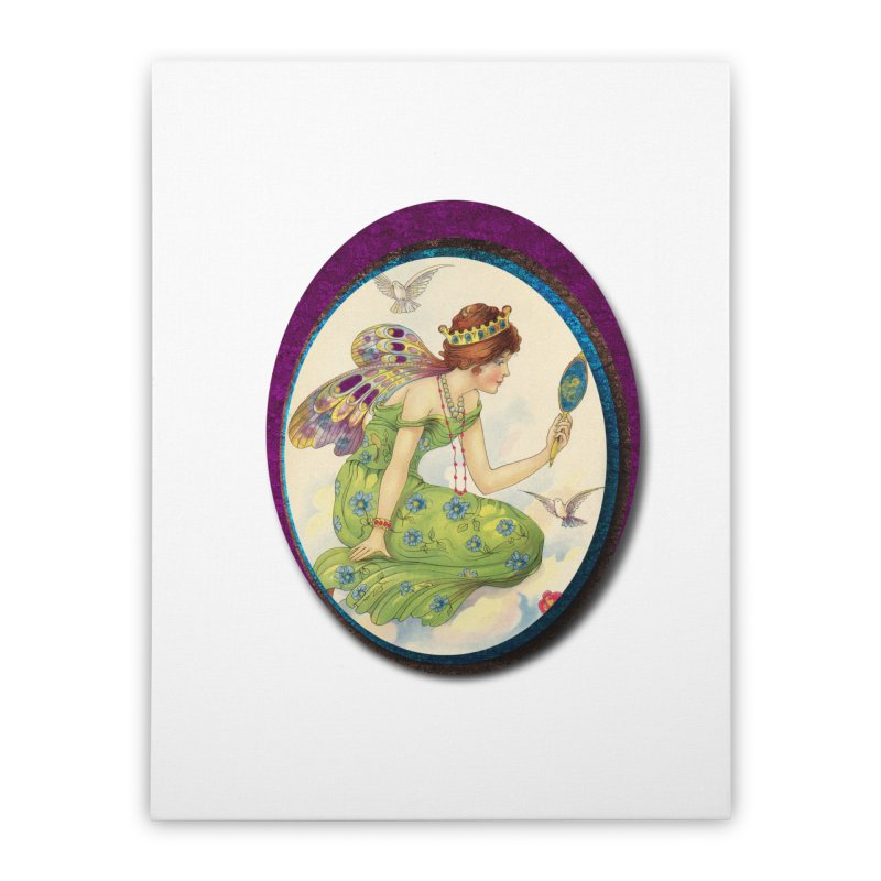 Fairy With Her Looking Glass Home Stretched Canvas by Maryheartworks's Artist Shop