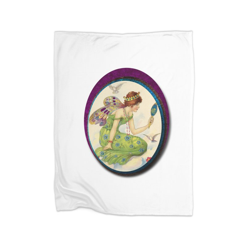 Fairy With Her Looking Glass Home Fleece Blanket Blanket by Maryheartworks's Artist Shop