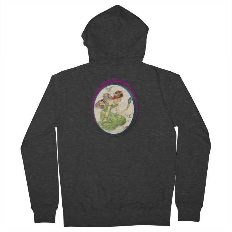 Fairy With Her Looking Glass Men's French Terry Zip-Up Hoody by Maryheartworks's Artist Shop