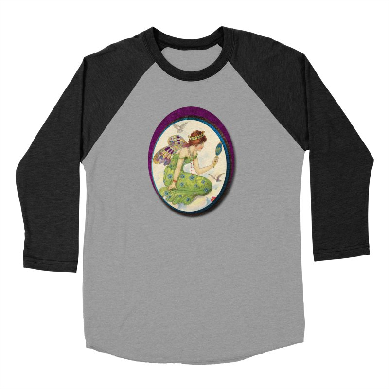 Fairy With Her Looking Glass Men's Baseball Triblend Longsleeve T-Shirt by Maryheartworks's Artist Shop