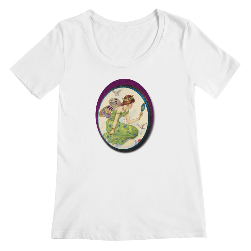 Fairy With Her Looking Glass Women's Regular Scoop Neck by Maryheartworks's Artist Shop