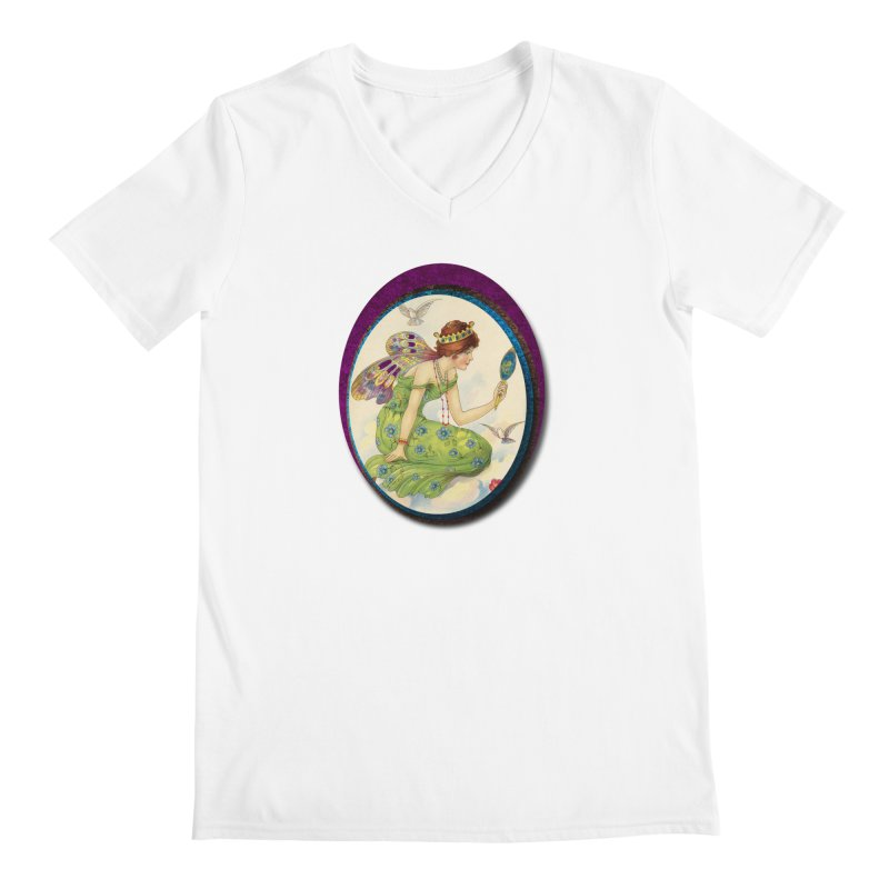 Fairy With Her Looking Glass Men's Regular V-Neck by Maryheartworks's Artist Shop