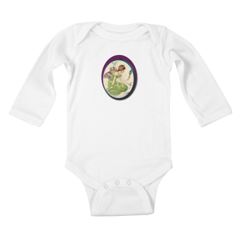 Fairy With Her Looking Glass Kids Baby Longsleeve Bodysuit by Maryheartworks's Artist Shop