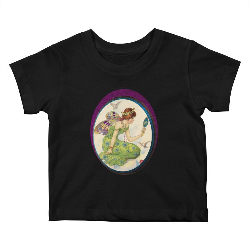 Fairy With Her Looking Glass Kids Baby T-Shirt by Maryheartworks's Artist Shop