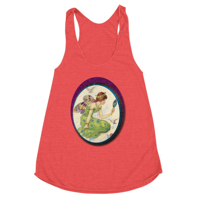 Fairy With Her Looking Glass Women's Racerback Triblend Tank by Maryheartworks's Artist Shop