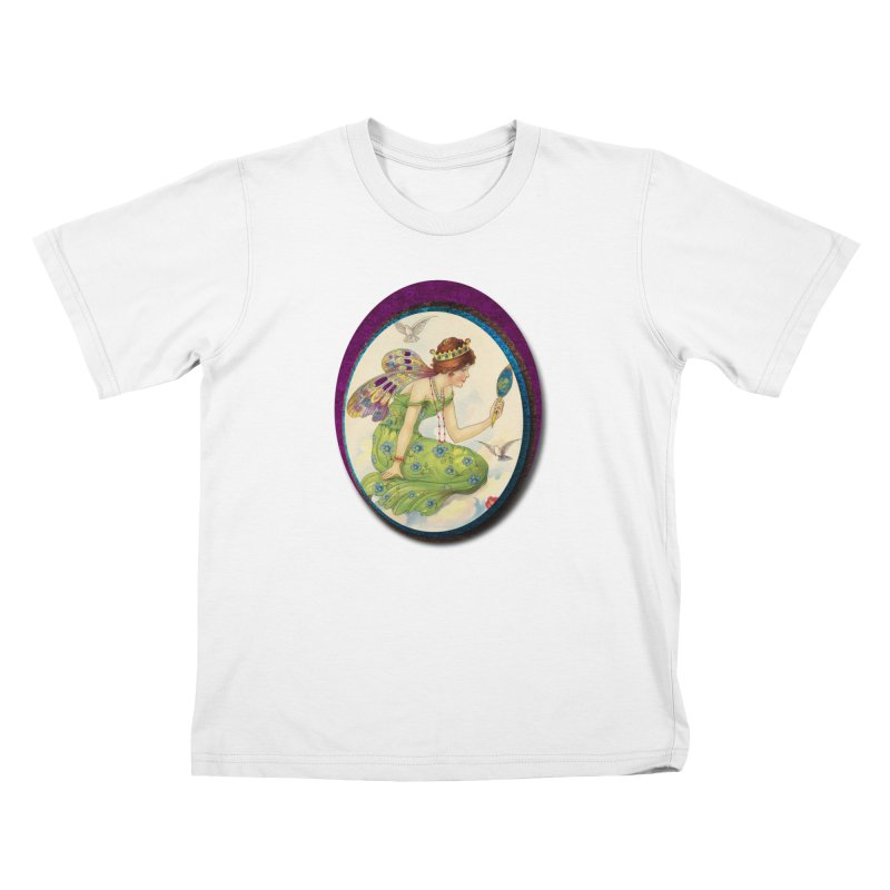 Fairy With Her Looking Glass Kids T-Shirt by Maryheartworks's Artist Shop