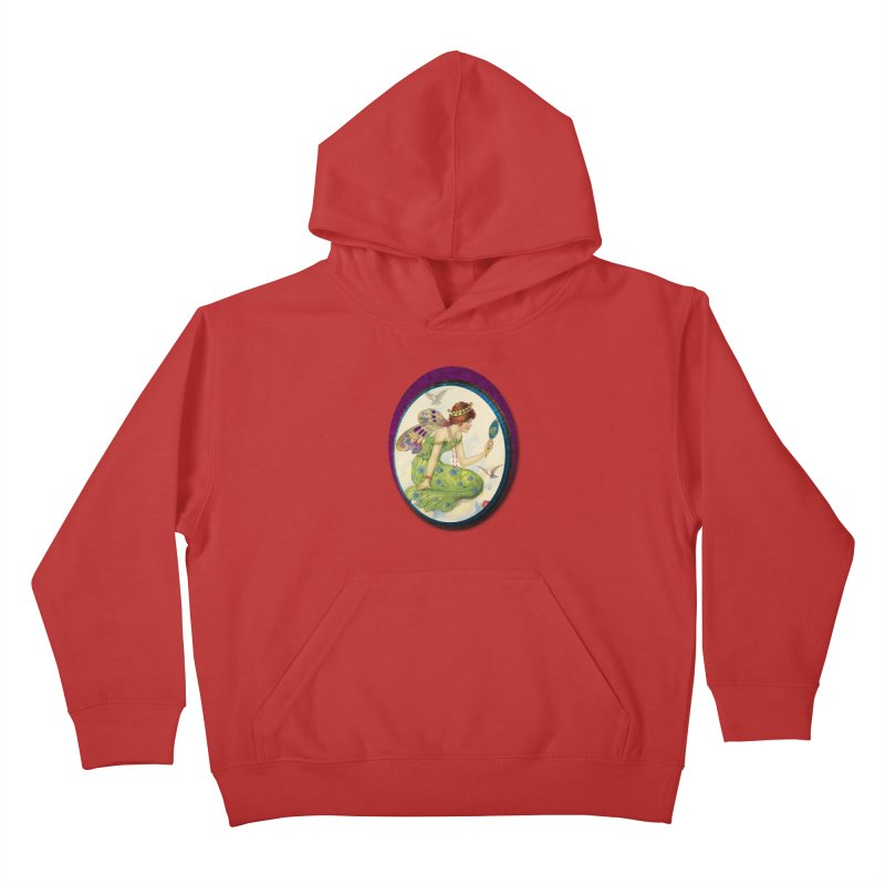 Fairy With Her Looking Glass Kids Pullover Hoody by Maryheartworks's Artist Shop