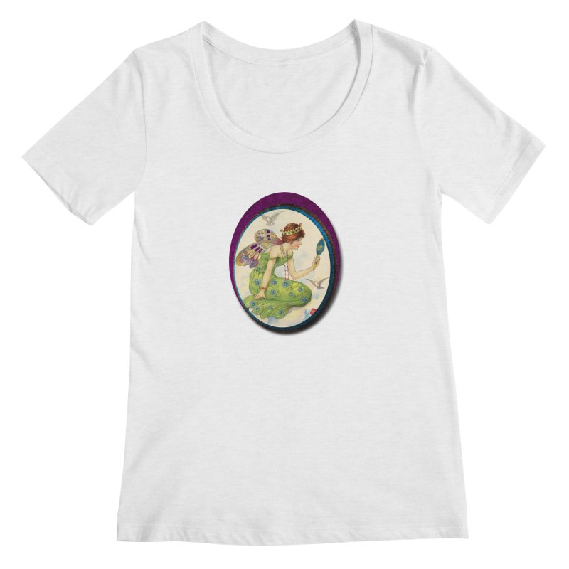 Fairy With Her Looking Glass Women's Scoop Neck by Maryheartworks's Artist Shop