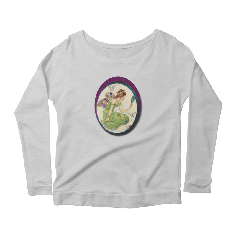 Fairy With Her Looking Glass Women's Scoop Neck Longsleeve T-Shirt by Maryheartworks's Artist Shop