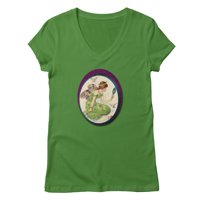 Fairy With Her Looking Glass Women's Regular V-Neck by Maryheartworks's Artist Shop