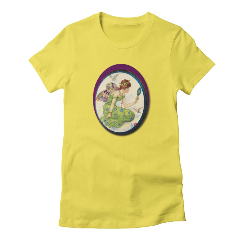 Fairy With Her Looking Glass Women's Fitted T-Shirt by Maryheartworks's Artist Shop