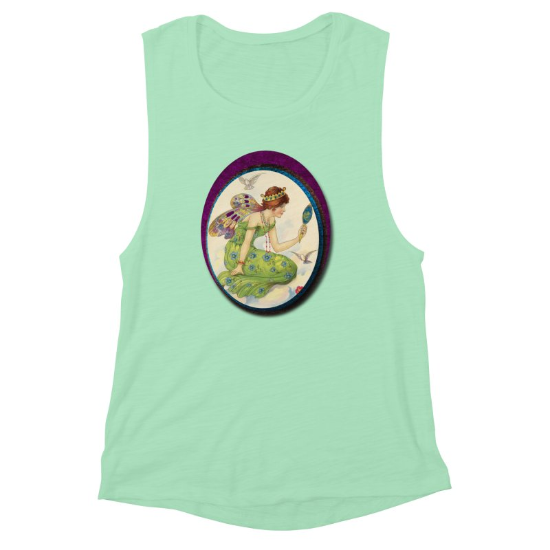 Fairy With Her Looking Glass Women's Muscle Tank by Maryheartworks's Artist Shop